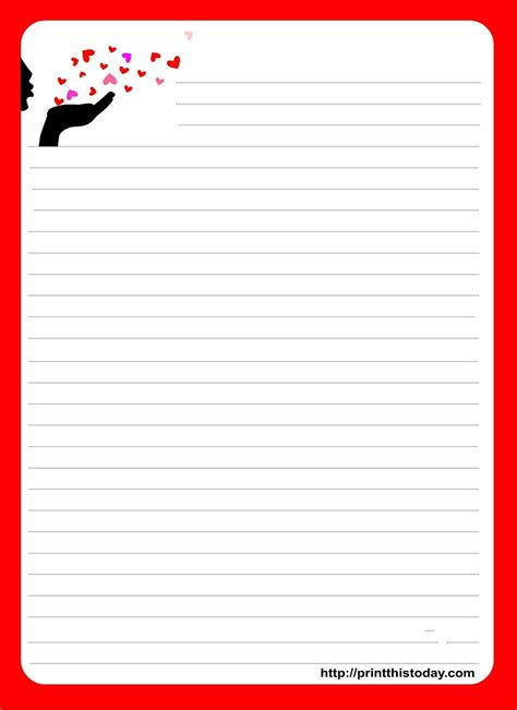 love letter template valentine cards writing paper