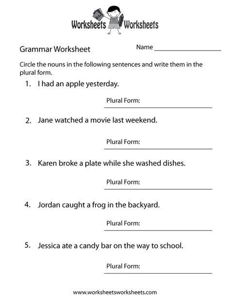grammar worksheets 5th grade pdf worksheets for all