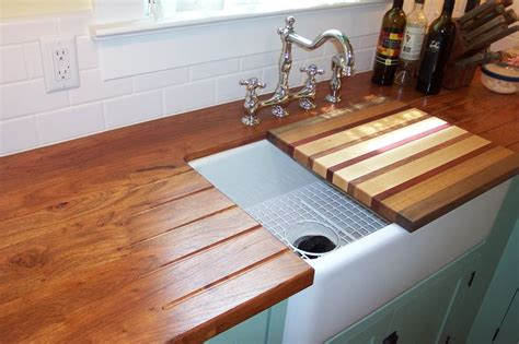 Mesquite Face Grain Counter Top With Built In Drain Board