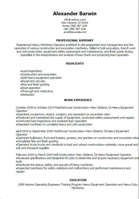 Heavy Equipment Operator Skills Resume by Heavy Equipment Operator Resume Sles Vvengelbert Nl