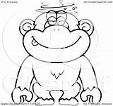 Dumb Drunk Chimpanzee Cartoon Clipart Coloring Outlined Vector Thoman Cory Clip Regarding Notes Clipartof sketch template