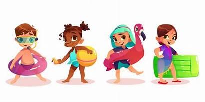Indian Swimming Vector Cartoon Children Clip Freepik