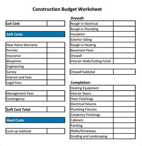 construction budget samples  google docs