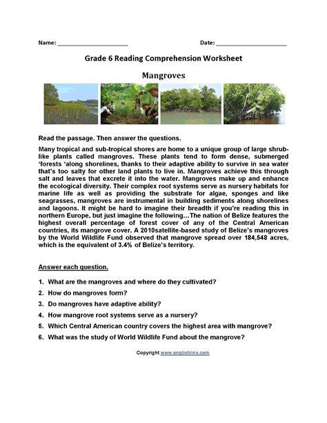 Reading Comprehension Worksheets Level 6  Worksheet Example