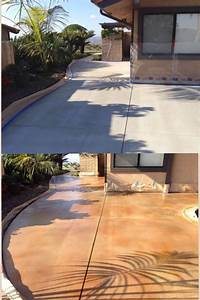 Backyard Stained Concrete Before And After
