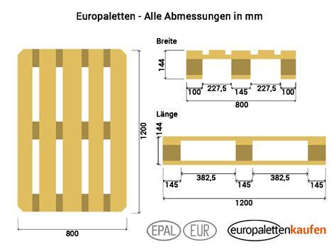 europaletten masse abmessungen aller groessen breite