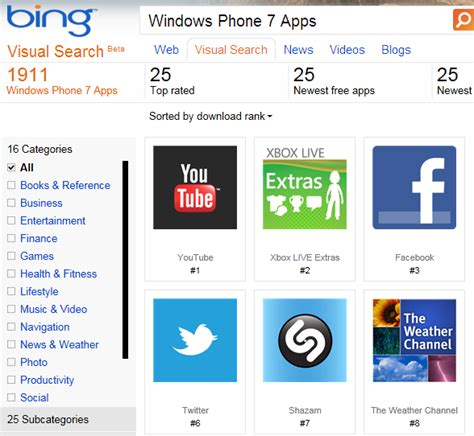 bing visual gallery  windows phone  apps tech dreams