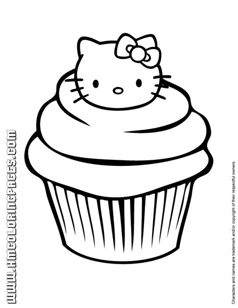 kitty cupcake coloring page    handy