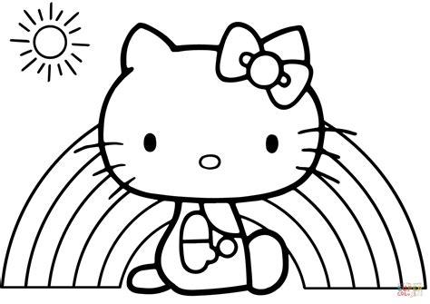 kitty rainbow coloring page  printable