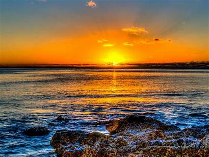 Sunset Yellow Beach Bright Rocks Milky Wallpapercanyon