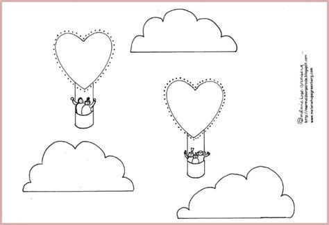 Heart Air Balloon Coloring Page (and Craft
