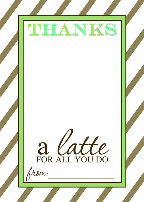 Thanks A Latte Card Template