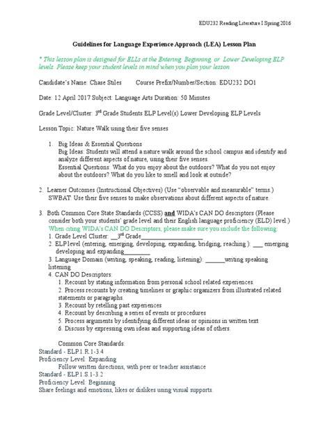 lea lesson plan lesson plan reading comprehension