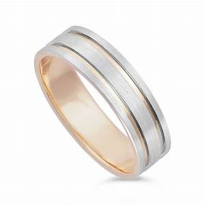 Men39s 9ct rose gold and palladium 950 wedding ring for Ring mens wedding