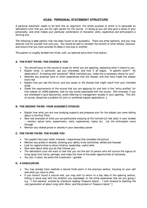 Resume Structure Exles by Personal Statement Template Ucas Search