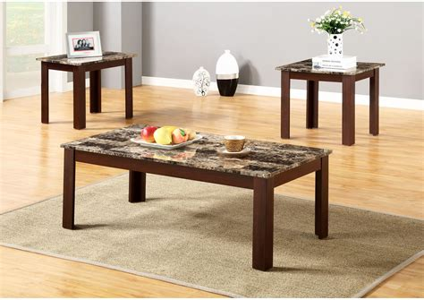 It lets you create a warm and inviting look with your favorite decor, collectibles, potted plants etc. Brown 3 Piece Faux Marble Top Coffee And End Table Set ROSES Flooring and Furniture