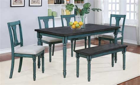 teal  smoke finish  piece group dining room