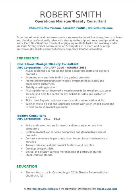 beauty consultant resume samples qwikresume