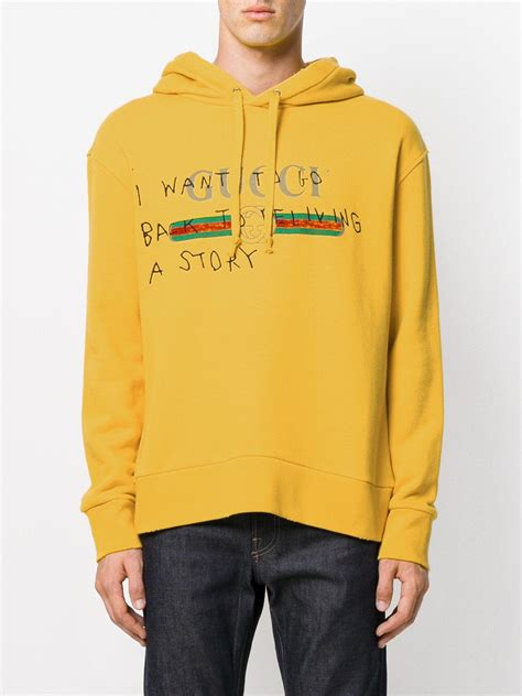 gucci cotton coco capitan logo hoodie yelloworange