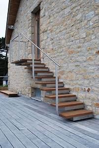 Hauteur Marche Escalier Extérieur : escalier d 39 ext rieur des escaliers en bois alu acier avec rampe c t maison ~ Farleysfitness.com Idées de Décoration