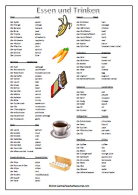 german vocabulary sheetsgerman teacher resources