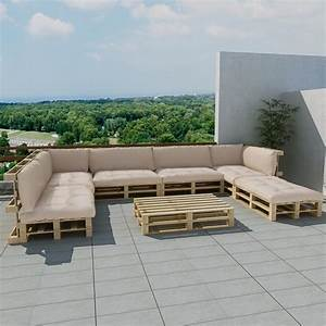 ensemble salon d39exterieur palette avec 13 coussins blanc With tapis exterieur avec ensemble canapé 3 2