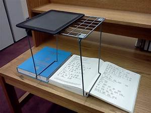 Test driving a locker shelf as an ipad scanning stand for Document scanning stand