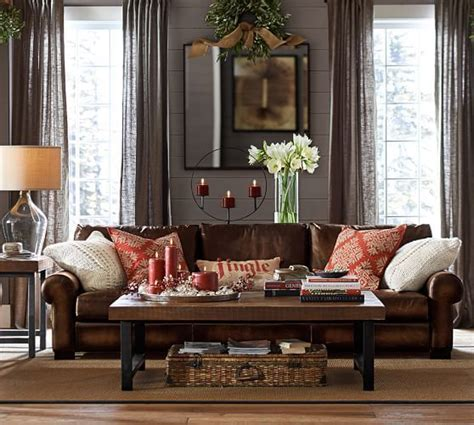 Living Room Wall Decor Pottery Barn by Turner Roll Arm Leather Sofa Entrancing Pottery Barn
