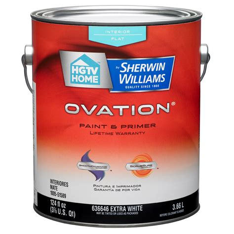 paint with primer shop hgtv home by sherwin williams ovation white flat latex interior paint and primer in one