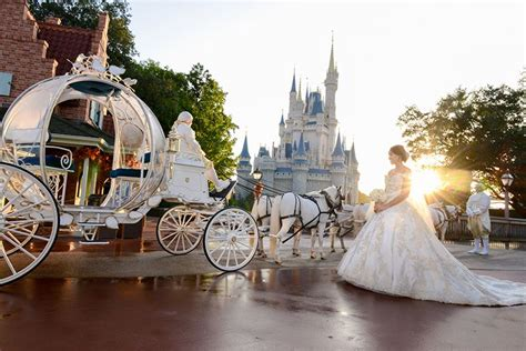 Cinderella's Coach Arrives To Escort A Bride To Her Walt