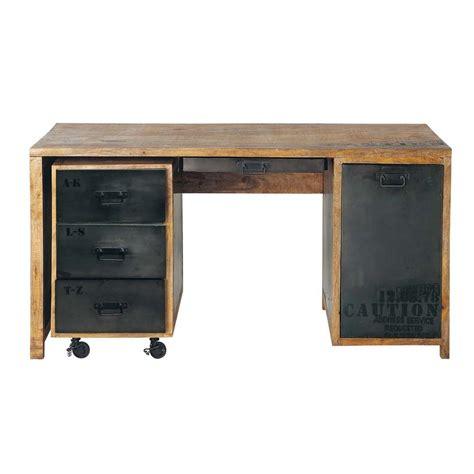 bureau en u bureau en manguier massif et métal l 150 cm manufacture