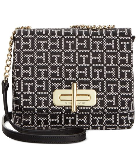 tommy hilfiger abby monogram jacquard small flap crossbody  black blackwhite lyst