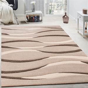 Tapis moderne salon poils ras vagues design beige creme for Soldes tapis salon
