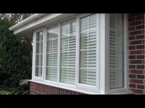 fit plantation window shutters   square box bay upvc window youtube