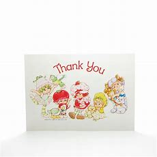 Thank You Postcard With Strawberry Shortcake & Friends  Brown Eyed Rose