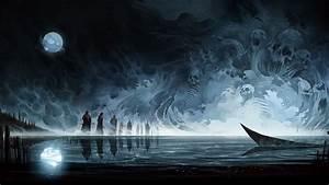 Artwork, Fantasy, Art, Skull, Moon, Reflection, Water, Boat