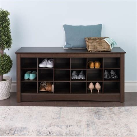 bench with shoe cubby 18 cubby shoe storage bench in espresso ess 4824