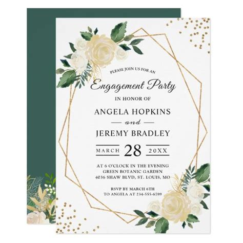 Emerald Green Floral Gold Frame Engagement Party
