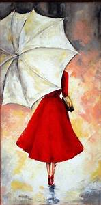 Hand painted Abstract Wall Art Decor Lady in Red Portrait