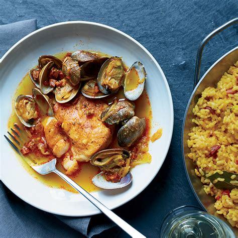 hake clams  chorizo  broth  paella rice recipe