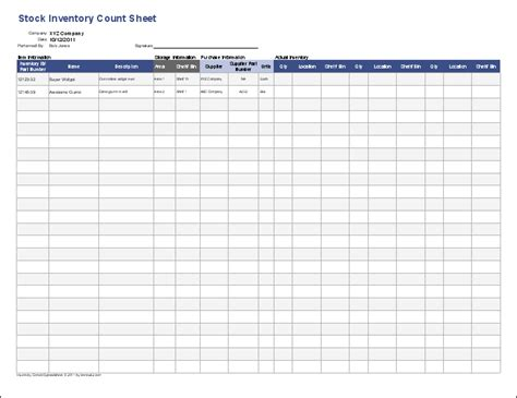 inventory control template stock inventory control