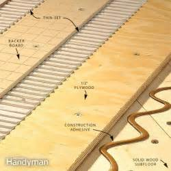 how to install tile backer board on a wood subfloor the family handyman