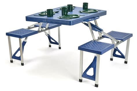 Patio Tables With Umbrella Hole by Portable Aluminum Folding Picnic Table With 4 Seats By