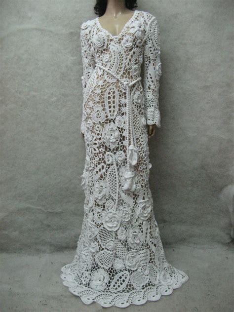 crochet wedding maxi dress handmade white dress wedding