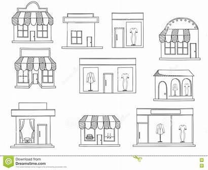 Coloring Buildings Supermarket Shops Vector Illustration