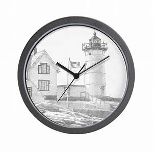 Nubble Light Drawing Wall Clock by drawntonewengland