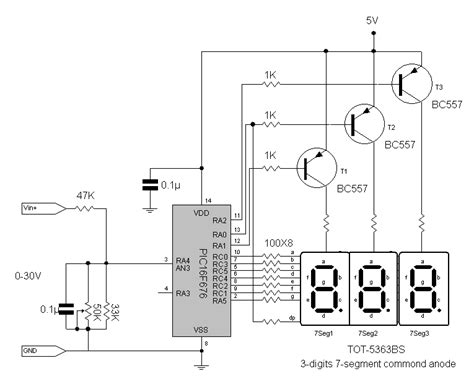 digital voltmeter with 3 digit output by pic16f676 eeweb