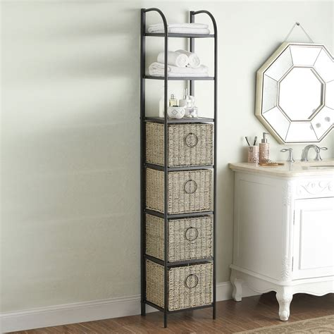 tall storage unit  baskets bathroom storage brylane