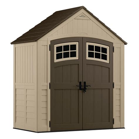 suncast storage sheds home depot suncast sutton 7 ft 4 5 in x 3 ft 11 75 in resin