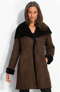 Blue Duck Fitted Coat Large Hood Shearling Brown Size ...